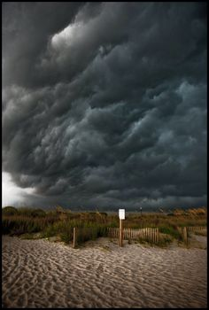 Beach Storm by Misher. /What an amazing sky, I love these EL. All Nature, Science And Nature, Amazing Nature, Weather Cloud, Wild Weather, Dark Weather, Extreme Weather, Storm Clouds, Sky And Clouds