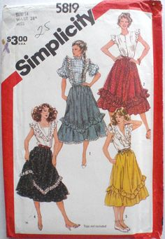 Flounced Prairie Skirt Sewing Pattern Simplicity 5819 Size