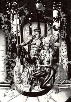 Namor and Sue Richards by Mike Deodato Jr #MikeDeodatoJr #Namor #SubMariner #TheInvaders #TheDefenders #Illuminati #XMen #Atlantis #FantasticFour #AllWinnersSquad #Avengers #InvisibleWoman #SueStorm #SusanRichards #SusanStorm #SueRichards #FF #FantasticFour #LadyLiberators