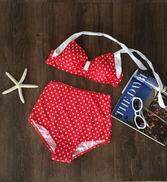 It is hottest swimsuit in a two pieces this summer! With a retro style made, it flatters every body type. Show off your sexy flair as well trendy style even on the beach! This sexy swimsuit features a cute polka dot printed pattern all over, adjustable halter strap, padded cups with bow-knot center, hook closure back, scrunched bottom with high-waisted style makes you look sexier. More surprises, plz check www.azbro.com