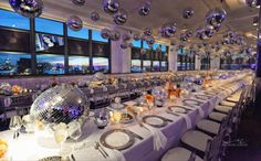 Nothing can dull the sparkle of this disco ball ceiling treatent.  Party Favorites - Event Planning Resource - BAR MITZVAHS WEDDINGS BAT MITZVAHS SHOWERS SWEET 16s