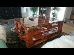 How To Make a TV Stand From Pallets With Secret Compartment - YouTube