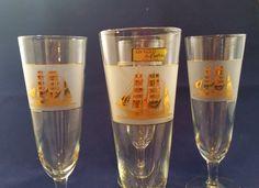Culver Clipper Ship Barware Pilsner Glasses  24 KT