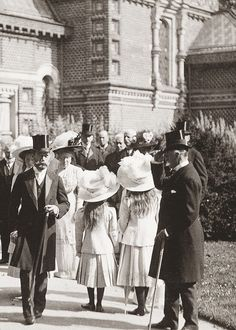 Nicholas II of Russia and his daughters, Grand Duchesses Olga, Maria and Anastasia, in Germany.