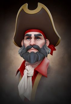 Pirate by Yuriy Moskvin on ArtStation. Game Character Design, Character Creation, 3d Character, Character Drawing, Pirate Cartoon, Character Modeling, 3d Modeling, Guy Drawing, Pictures To Draw