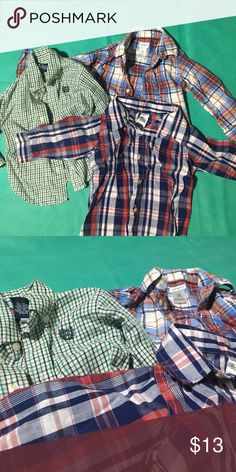 Lot of 18 month button down shirts- lol in perfect condition with no stains- perfect for that growing boy with an awesome sense of style 😉 Shirts & Tops