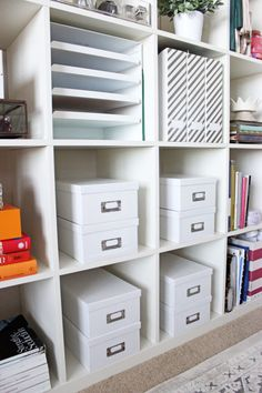 Home-Office-Shelf-Organization-Style-Cusp-Ikea-Shelves-White-Photo-Box-Storage-containers - Style Cusp Ikea Office Storage, Home Office Shelves, Office Supply Storage, Ikea Shelves, Home Office Organization, Craft Shelves, Organization Ideas, Ikea Regal, Diy Regal
