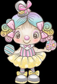 Clown Party, Circus Party, Candy Colors, Clowns, Cute Drawings, Card Making, Clip Art, Kawaii, Scrapbook