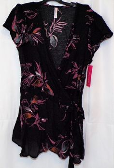 5c2359ceb0c Cool item  Women s Size XS Black Short Sleeve Shirt Wrap Shirt