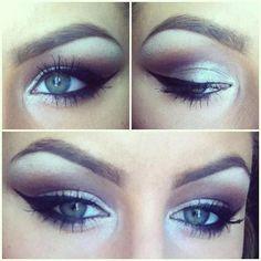 Pretty makeup. Kinda wish I had greenish blue eyes bc it seems like the Smokey eyes for blue eyes is so much prettier.