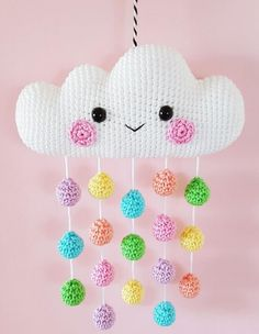 Cloud Mobile PDF Pattern, crochet, amigurumi * Please note that this is a crochet pattern PDF and NOT a finished item * ………………………………………………………………………………………………………… This is a pattern for a super cute and happy Cloud. Mobiles En Crochet, Crochet Mobile, Cloud Mobile, Crochet Amigurumi, Crochet Dolls, Crochet Gifts, Cute Crochet, Crochet Summer, Hand Crochet