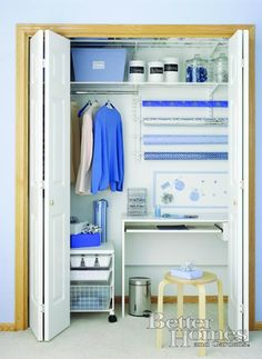 Craft closet - Better Homes and Gardens -Like this but with shelving and drawers on the right side