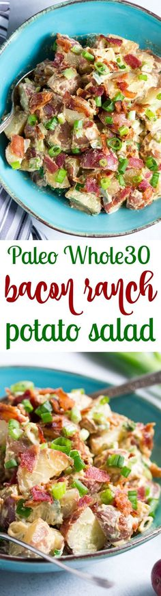 This creamy ranch potato salad is loaded with savory crispy bacon green onions and couldnt be easier to make! A homemade Paleo and ranch dressing gives this potato salad a zesty addicting cheesy flavor even though its dairy-free! This creamy ranch po Bacon Ranch Potato Salad, Bacon Ranch Potatoes, Roasted Potatoes, Whole Foods, Paleo Whole 30, Paleo Recipes, Whole Food Recipes, Paleo Running Momma, Paleo Bacon