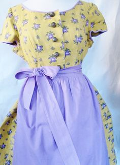 Vint ALPINE DIRNDL Dress, Ochre, Lilac, Linen, Cotton, Domed Metal Buttons, Lilac Apron, Lilac Roses, Oktoberfest, Trachten Dress by AlpineCountryLooks on Etsy