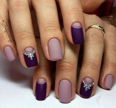 Matte nails, Nails with rhinestones, Plum nails, Two-color nails Nail art design two tone half moon Nail Art Designs 2016, Nail Art Design Gallery, Simple Nail Art Designs, Easy Nail Art, Plum Nails, Purple Nails, Matte Nails, Diy Nails, Acrylic Nails