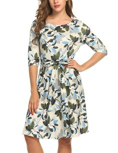 5c44908449a Meaneor Womans 3 4 Sleeve Casual Swing And Cocktail dress w  Belt at Amazon