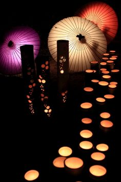 Japanese Bamboo Lanterns + Umbrellas