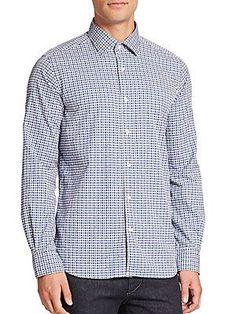 Saks Fifth Avenue Collection Plaid Cotton Sportshirt - Blue - Size