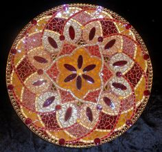 Gold & Red Bowl with glass mosaic