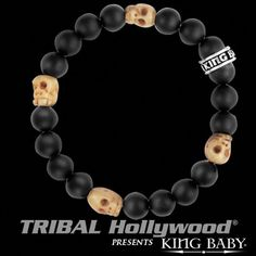BONE SKULLS Black Onyx Bead Bracelet by King Baby Studio