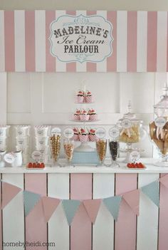 Sundae bar at an ice cream birthday party! See more party planning ideas at CatchMyParty.com!