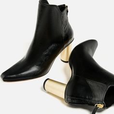 LAMINATED HIGH HEEL LEATHER ANKLE BOOTS DETAILS 139.00 CAD