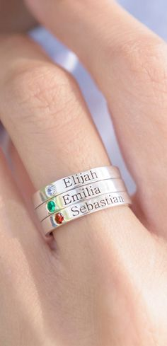 Stack them high..  Stackable name rings with birthstones in Silver, Gold or Rose Gold