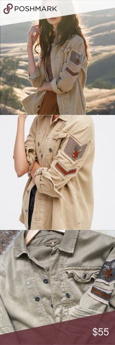 LOWEST ON POSH⚡️Embellished Military Shirt Jacket SAND // Military inspired soft utility shirt jacket featuring luxe bead accents on the sleeve and allover raw trim. Exposed button closures, hip pockets and bust pocket detailing. Excellent condition, no flaws.   Measurements for size small:  Bust: 44.0 in Length: 28.0 in Sleeve Length: 24.0 in Free People Tops