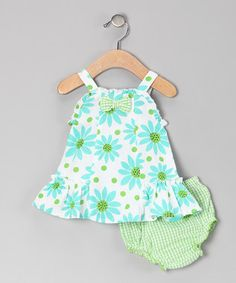 Green Flower Dress & Diaper Cover - Infant ~$10.99 by 'Baby Basics Collection'