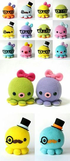 Adorable handmade plush octopus' from Cheek and Stitch. Check the website of Cheek & Stitch. Cute Crafts, Crafts To Do, Felt Crafts, Crafts For Kids, Arts And Crafts, Sewing Toys, Sewing Crafts, Sewing Projects, Craft Projects