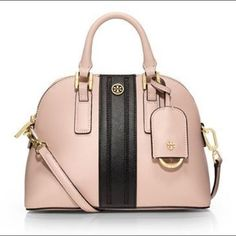 7a5191337ecb  tory burch robinson dome striped mini satchel in pink light oak black