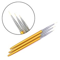 3pcs Gold Fine Art Nail Art Liner Brushes Pens Metal Handle For UV Gel Polish Painting Drawing Lining Brush Nails Tools Manicure