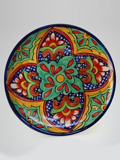 Unique turquoise floral traditional Mexican plate #mexican #sabor