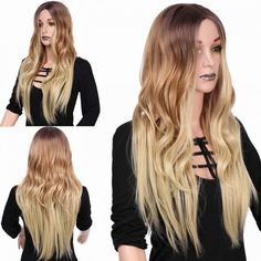 colormix blond natural long wavy synthetic wigs middle parting for women Cheap Lace Front Wigs, Cheap Wigs, How To Wear A Wig, Wigs Online, Wigs For Sale, Blonde Wig, Womens Wigs, Curly Wigs, Long Curly