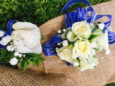 White corsage and boutonniere for prom