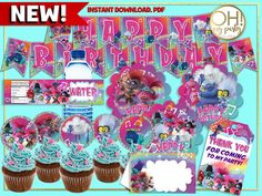 troll world tour birthday party \ troll world tour party ; troll world tour party ideas ; troll world tour birthday party Trolls Birthday Party, Troll Party, 2nd Birthday Parties, Birthday Party Invitations, Birthday Ideas, 8th Birthday, Birthday Cake, Happy Birthday Banners, Birthday Decorations