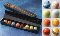 Hand-painted solar system chocolates. Amazing. Each one is a different flavor, too.