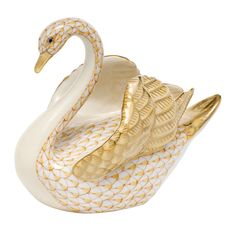 "Swans mate for life!  This is a gorgeous, handpainted porcelain Herend animal, measuring approximately 6"" tall."