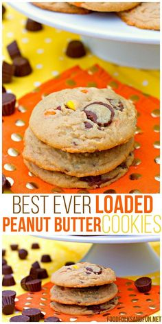 Loaded Peanut Butter Cookies - they're big, chewy, and full of peanut butter goodness. They're loaded with Reese's Pieces and Reese's Mini Peanut Butter Cups. @foodfolksandfun