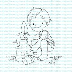 Digital Stamp Boy Plays with Sand Castle by MilkCoffee on Etsy, $3.00