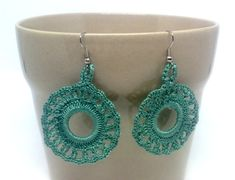 Green round crochet earrings. Andalucia flamenco style. Hand knitted jewellery. Unique gift. Acrylic hoop. Gypsy earrings. Textil jewellery