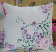 £20 Vintage Embroidered Hand Made Cushion in Pinks and Lilacs