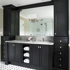Double Vanity Ideas- Contemporary, bathroom, Benjamin Moore Natural Linen, The Sky is the Limit