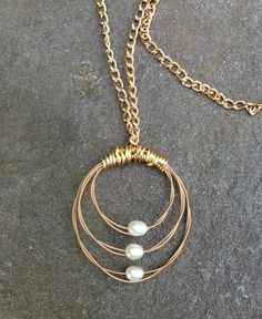 Items similar to Endless Circles Gold Guitar String Necklace - Freshwater Rice Pearls - Circle Pearl Jewelry - Great Gift for Mom, Geometric Jewelry on Etsy Beach Jewelry, Wire Jewelry, Jewelry Crafts, Handmade Jewelry, Unique Jewelry, Wire Wrapped Necklace, Beaded Necklace, Beadwork, Beading
