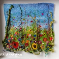 Handmade colourful wet felt and textural embroidery original framed flowers meadow picture. Raised 3d texture, vibrant and unique Felt Diy, Handmade Felt, Felt Crafts, Wet Felting Projects, Needle Felting Tutorials, Felt Embroidery, Embroidery Ideas, Felt Pictures, Needle Felted Animals