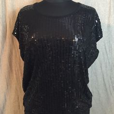 Michael Kors Black Sequin Short Sleeved Top 🏷✂️‼️Even lower price‼️ Sequin front, slouchy/flowing fit, solid back. Worn a maximum of three times. Great condition! Perfect for a night out with the girls, a date or even on a day you want to feel sparkly while cleaning your house! MICHAEL Michael Kors Tops Blouses