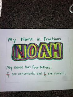 My Name in Fractions: what fraction of the letters in your name are consonants? What fraction are vowels? could also color the letters different- 1/4 are red, 2/4 blue, etc.  Then reduce fractions as well.