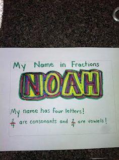 school, fractions, names, math idea, name activities, spelling words, kid, second grade, name art