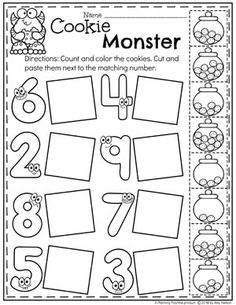 Preschool Math Worksheets – Monster Theme - Kids education and learning acts Preschool Learning Activities, Free Preschool, Preschool Printables, Preschool Lessons, Preschool Kindergarten, Kindergarten Worksheets, Kids Learning, Letter Worksheets, Vocabulary Activities