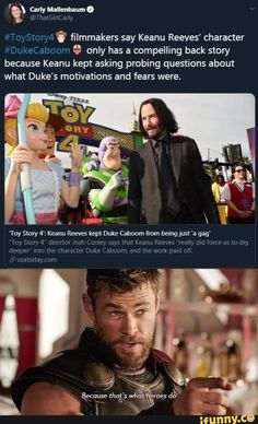 Disney funny - Vv 3 only has a compelling back story because Keanu kept asking probing questions about what Duke's motivations and fears were iFunny ) Disney And Dreamworks, Disney Pixar, Walt Disney, Disney Marvel, Disney Love, Disney Magic, Funny Memes, Hilarious, Funny Facts
